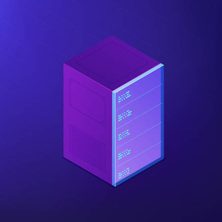 Isometric server rack with pluged in equipment. Server digital devices. Data storage, office network control and system administration concept. Ultraviolet background. Vector 3d illustration. Illustration