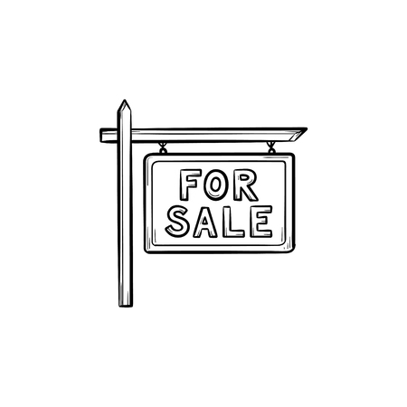 Basic for sale sign hand drawn outline doodle icon. Real estate, advertising, selling house, property concept. Vector sketch illustration for print, web, mobile and infographics on white background.