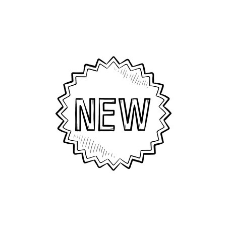 New product star sticker hand drawn outline doodle icon. Promotion, retail, latest, advertisement concept. Vector sketch illustration for print, web, mobile and infographics on white background. Vettoriali