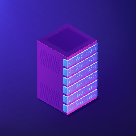 Isometric database concept. Organized with raws, columns and tables, collection of relevant information, access management and update on ultra violet background. Vector 3d isometric illustration.