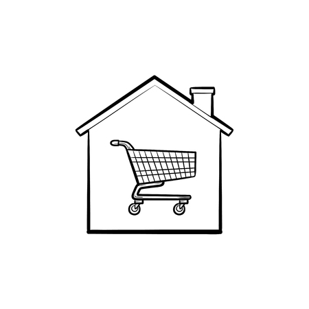 House with shopping cart inside hand drawn outline doodle icon. Property purchase, e-commerce, estate concept. Vector sketch illustration for print, web, mobile and infographics on white background. Ilustracja