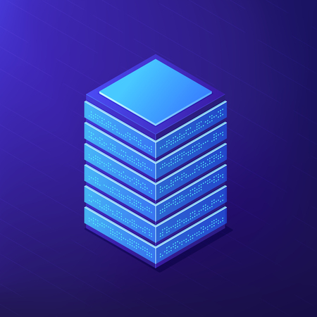 Isometric big data tools to store and analyse data. Business Intelligence, software, open source framework and NoSql solutions concept on ultra violet background. Vector 3d isometric illustration. Иллюстрация