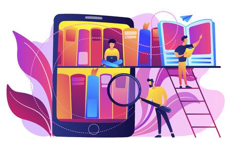 Tableta con estanterías y estudiantes que buscan y leen información. Aprendizaje digital, base de datos en línea, almacenamiento y búsqueda de contenido, concepto de libros electrónicos, paleta violeta. Ilustración de vector aislado.