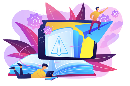 User with book and tablet watching himself flying on paper plane in augmented reality. Virtual reality learning technology, enertainment app concept, violet palette. Vector isolated illustration. Illustration