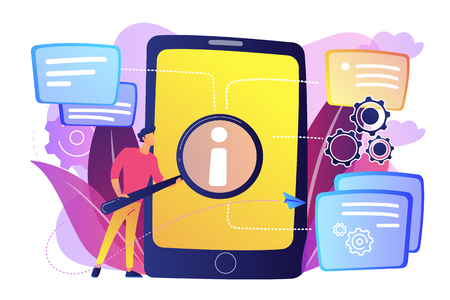 User looking for information in tablet with magnifier. Electronic goods technical assistance guide, manual for computer hardware and software concept, violet palette. Vector isolated illustration. 向量圖像