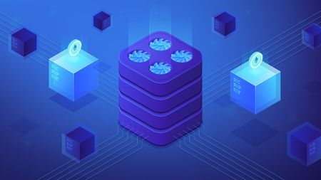 Isometric Etherium platform. Cyptographically secure, decentralized, tamper proof network. Etherium mining and decentralized application development concept on blue violet background. Vector