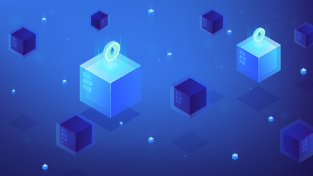 Isometric blockchain technology concept. Etherium mining, e-trade, crypto trading, global cryptocurrency blockchain founds transfer. Blue violet background. Vector isometric illustration.
