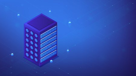 Isometric server farm concept. Power computer server as cluster server, cloud services, functionality performance and IT system concept in blue violet palette. Vector 3d illustration.