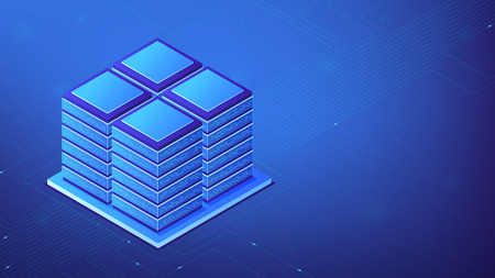 Isometric server computers on 19 inch racks as a concept of server room, global data center, information storage and data running in blue violet palette. Vector 3d illustration.