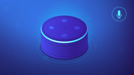 Voice controlled smart speaker. Smart home office main controlling hub. IoT technology and voice controlled digital devices concept. Blue violet background. Vector 3d isometric illustration.