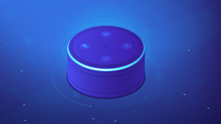 Smart speaker with voice control. Smart home controller, voice commands and smart devices management. Internet of things concept. Blue violet background. Vector 3d isometric illustration.