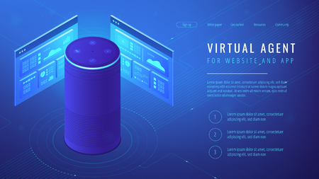 Isometric smart speaker with title virtual agent landing page. Voice activated digital assistants for websites and mobile applications concept. Blue violet background. Vector 3d illustration Illustration