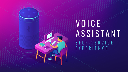 Isometric smart speaker with title voice assistant. Voice activated digital assistants and customer self customer service experience concept. Ultra violet background. Vector 3d illustration.