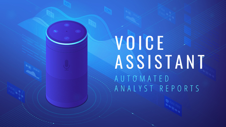 Isometric smart speaker with title voice assistant analyst reports. Voice activated digital assistants and automated voice command report concept. Blue violet background. Vector 3d illustration. Illustration