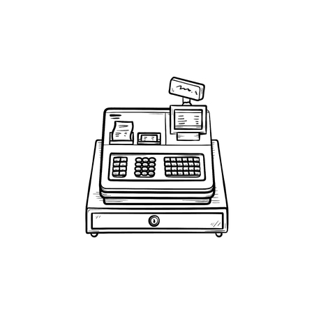Cash register machine hand drawn outline doodle icon. Retail, shop service and equipment, store receipt concept. Vector sketch illustration for print, web, mobile and infographics on white background. Illustration