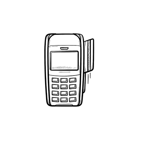 POS terminal for bank card hand drawn outline doodle icon. Credit card machine, paying, purchase, shop concept. Vector sketch illustration for print, web, mobile and infographics on white background. Illustration