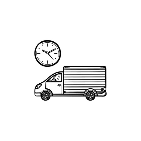 Delivery truck with clock hand drawn outline doodle icon. Logistics, fast shipping, order delay concept. Vector sketch illustration for print, web, mobile and infographics on white background.