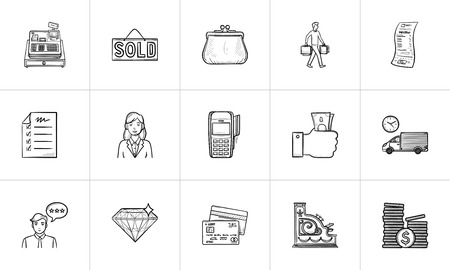 Shopping and paying hand drawn outline doodle icon set. Outline doodle icon set for print, web, mobile and infographics. E-commerce, shop vector sketch illustration set isolated on white background.