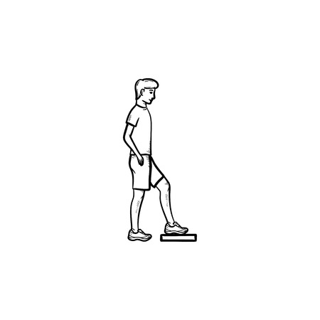 Man doing step aerobics hand drawn outline doodle icon. Activity, fitness cardio workout, gym exercises concept. Vector sketch illustration for print, web, mobile and infographics on white background. Иллюстрация