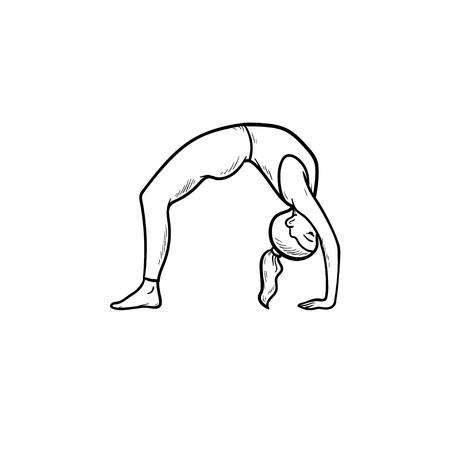 Frau praktizieren Yoga Brücke Pose Hand gezeichnete Umriss Doodle Symbol Gesunder Lebensstil, Yoga-Übungen-Konzept. Vektorskizzenillustration für Print, Web, Mobile und Infografiken auf weißem Hintergrund. Vektorgrafik