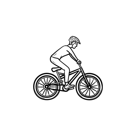 Mountain biker hand drawn outline doodle icon. Cycling, summer sport, cross country racing marathon concept. Vector sketch illustration for print, web, mobile and infographics on white background.