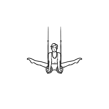 Gymnast doing split on rings hand drawn outline doodle icon. Athletic sportsman, acrobatic exercises concept. Vector sketch illustration for print, web, mobile and infographics on white background.