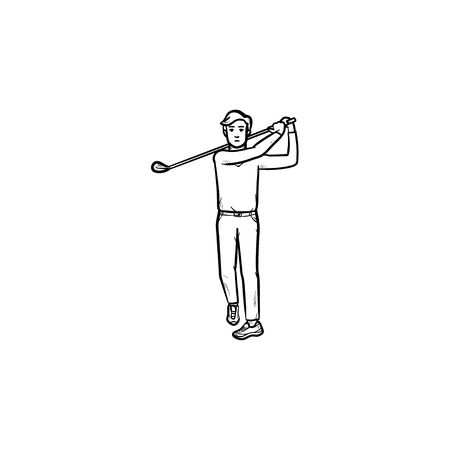 Golf player with club hand drawn outline doodle icon. Recteation, golf equipment, game tournament concept. Vector sketch illustration for print, web, mobile and infographics on white background. Vectores
