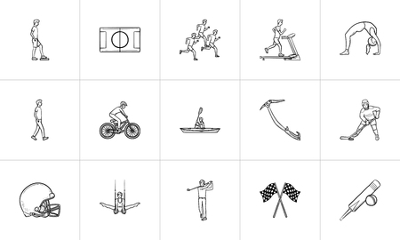 Sports hand drawn outline doodle icon set. Outline doodle icon set for print, web, mobile and infographics. Fitness, outdoor sport vector sketch illustration set isolated on white background. Banque d'images - 114740141