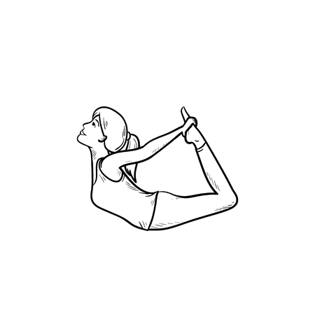 Woman stretching in yoga bow pose hand drawn outline doodle icon. Stretching, relaxation, fitness concept. Vector sketch illustration for print, web, mobile and infographics on white background.