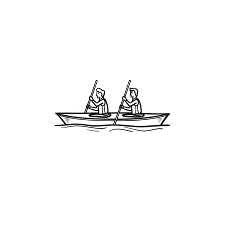 Two sportsmen rowing in canoe hand drawn outline doodle icon. Water sport, rowing, kayaking concept. Vector sketch illustration for print, web, mobile and infographics on white background. Illustration