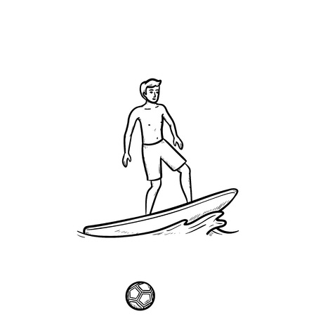 Male surfer on board hand drawn outline doodle icon. Beach holidays, ocean waves, extreme sport concept. Vector sketch illustration for print, web, mobile and infographics on white background. Vectores