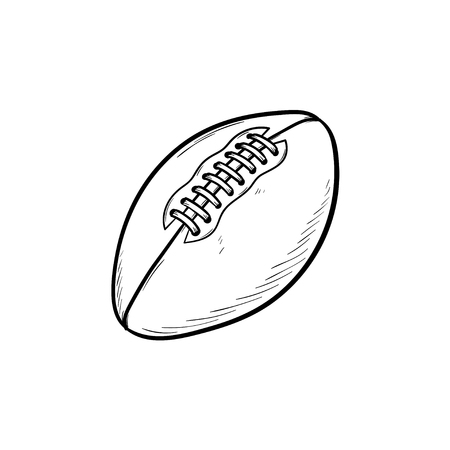 Rugby ball hand drawn outline doodle icon. Rugby equipment, team sport, healthy lifestyle concept. Vector sketch illustration for print, web, mobile and infographics on white background.