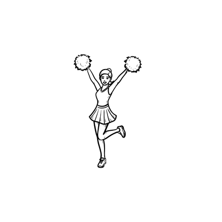 Cheerleader girl jumping with hands up waving pompoms hand drawn outline doodle icon. Cheerleading concept. Vector sketch illustration for print, web, mobile and infographics on white background.