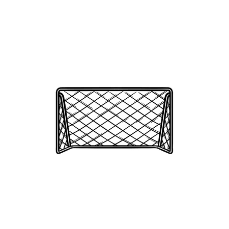 Soccer football goal hand drawn outline doodle icon. Soccer game equipment, team sport gates concept. Vector sketch illustration for print, web, mobile and infographics on white background. 矢量图像