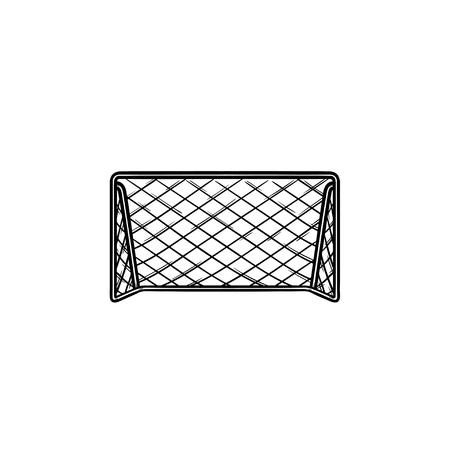 Voetbal voetbal doel hand getrokken schets doodle pictogram. Voetbal spel apparatuur, teamsport poorten concept. Schets vectorillustratie voor print, web, mobiel en infographics op witte achtergrond.