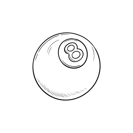 Pool eight ball hand drawn outline doodle icon. Billiard competition, sport app, pool game concept. Vector sketch illustration for print, web, mobile and infographics on white background.