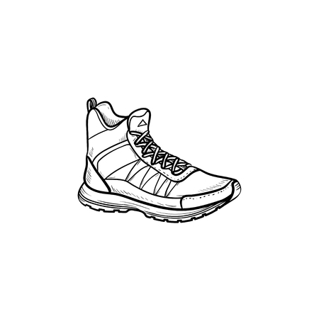 Hiking boot hand drawn outline doodle icon. Sports, hiking footwear, mountain walking comfortable shoes concept. Vector sketch illustration for print, web, mobile and infographics on white background.