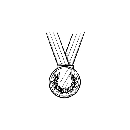 Round medal with ribbon hand drawn outline doodle icon. First place, competition prize winner concept. Vector sketch illustration for print, web, mobile and infographics on white background.