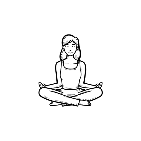 Woman sitting in yoga lotus pose hand drawn outline doodle icon. Wellness, meditation, mind relaxation concept. Vector sketch illustration for print, web, mobile and infographics on white background.