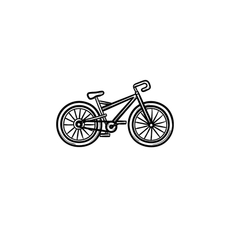 Bicycle hand drawn outline doodle icon. Cycling, sport transport, bike competition, outdoor activity concept. Vector sketch illustration for print, web, mobile and infographics on white background.