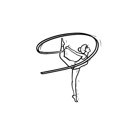 Young gymnast woman standing on one leg with ribbon hand drawn outline doodle icon. Rythmic gymnastics concept. Vector sketch illustration for print, web, mobile and infographics on white background.