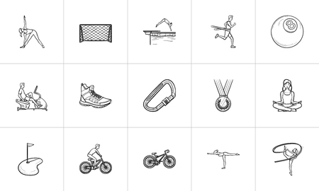 Sports hand drawn outline doodle icon set. Outline doodle icon set for print, web, mobile and infographics. Fitness, sport equipment vector sketch illustration set isolated on white background.