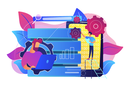 Developer using big data applications and tablet. Data processing software, database management and analysis, information privacy concept, violet palette. Vector isolated illustration. Stock Vector - 114740165