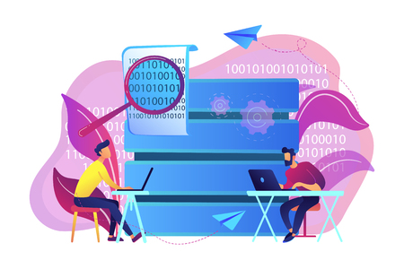 Programmers with laptops working on code and big data. Software development, data processing and analysis, data applications and management concept, violet palette. Vector isolated illustration.