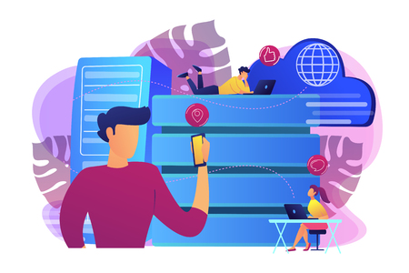 Internet users with proxy server using big data. Anonymity on internet and data protection, online privacy, anonymous browsing, proxy browser concept, violet palette. Vector isolated illustration. Çizim