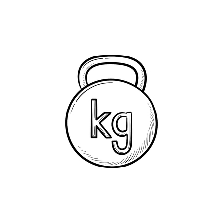 Gym kettlebell hand drawn outline doodle icon. Weight lifting, fitness and gym equipment, sport concept. Vector sketch illustration for print, web, mobile and infographics on white background.