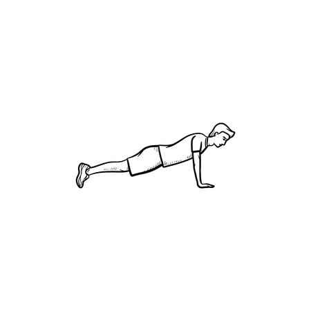Young man doing push-ups hand drawn outline doodle icon. Fitness, push-ups and plank workout, exercises concept. Vector sketch illustration for print, web, mobile and infographics on white background. Иллюстрация