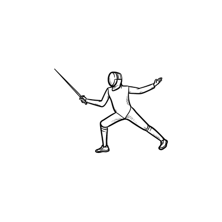 Man practicing fencing hand drawn outline doodle icon. Fencer, swardsman, fencing competition concept. Vector sketch illustration for print, web, mobile and infographics on white background.