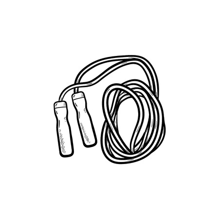 Jumping rope hand drawn outline doodle icon. Skipping activity, cardio exercise, fitness and health concept. Vector sketch illustration for print, web, mobile and infographics on white background. Illustration