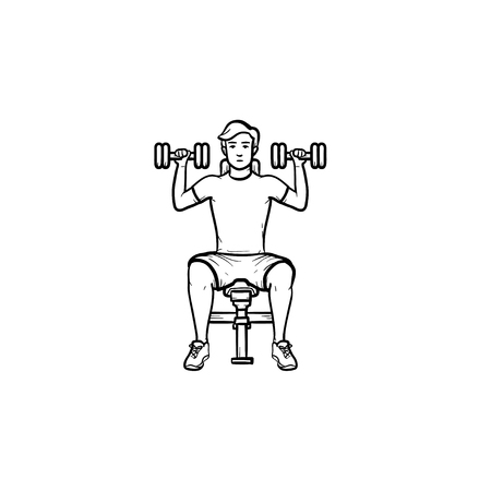 Young man exercising with dumbbells hand drawn outline doodle icon. Athletics and fitness, bodybuilding concept. Vector sketch illustration for print, web, mobile and infographics on white background. Illustration
